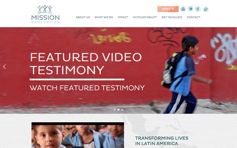 Screenshot of Home Page missiongeneration.org - Mission Generation                	- Home - captured Sept. 30, 2014