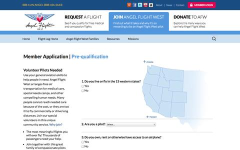 Screenshot of Signup Page angelflightwest.org - Angel Flight West Member Application - captured Oct. 29, 2014
