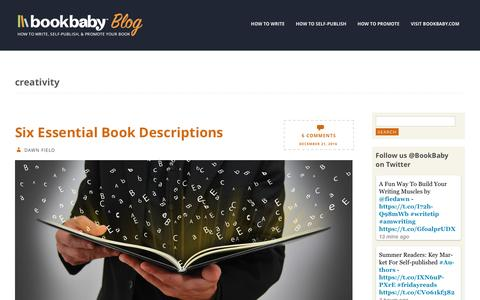 Screenshot of Blog bookbaby.com - creativity | BookBaby Blog - captured Feb. 27, 2017
