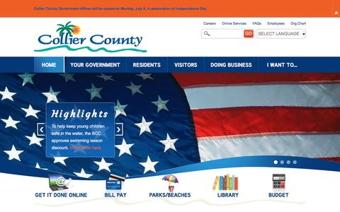 Screenshot of Home Page colliergov.net - Collier County, FL : Home - captured June 29, 2016