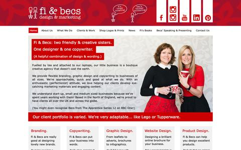 Screenshot of Home Page fiandbecs.com - Fi & Becs | Freelance Design & Copywriting | Boutique Marketing North West - captured Oct. 10, 2018