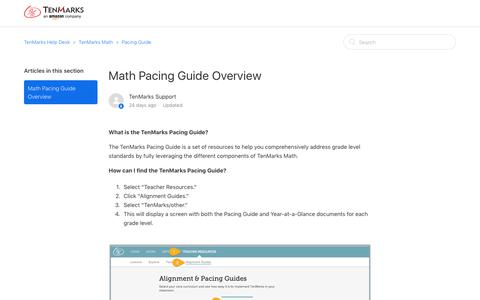 Screenshot of Support Page tenmarks.com - Math Pacing Guide Overview – TenMarks Help Desk - captured March 9, 2018