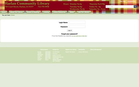 Screenshot of Login Page harlan.lib.ia.us - Harlan Community Library - captured April 27, 2017
