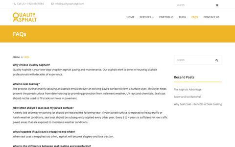 Screenshot of FAQ Page qualityasphaltgb.com - FAQs - Quality Asphalt - captured Sept. 28, 2018