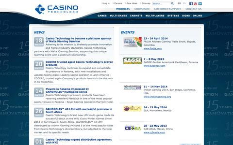 Screenshot of Press Page casino-technology.com - Casino Technology - captured Sept. 23, 2014