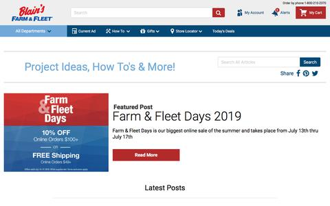 Screenshot of Blog farmandfleet.com - Home | Blain's Farm & Fleet Blog - captured July 21, 2019