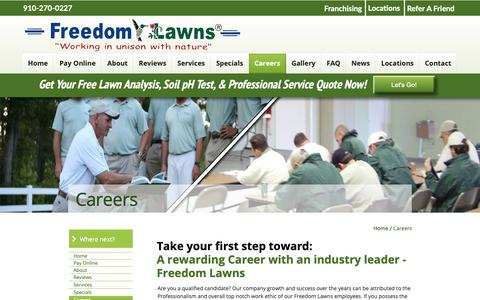 Screenshot of Jobs Page freedomlawnsnc.com - Freedom Lawns of Pender - captured Oct. 11, 2018