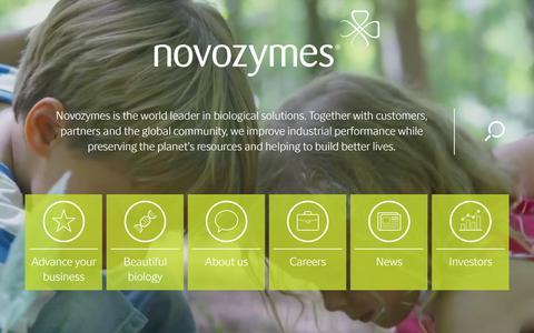 Screenshot of Home Page novozymes.com - Novozymes | The world leader in biological solutions - captured Sept. 2, 2017