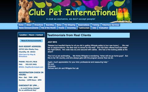 Screenshot of Testimonials Page clubpet.com - Testimonials from Real Clients | Club Pet International - captured Jan. 29, 2016