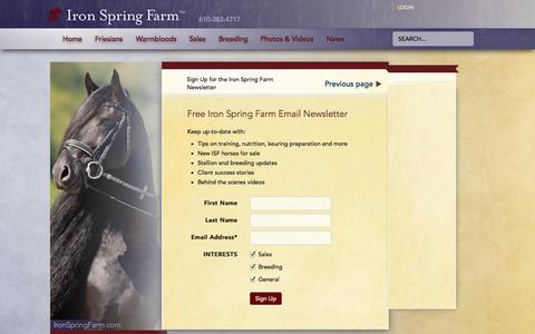 Screenshot of Signup Page ironspringfarm.com - Sign Up to Receive the Iron Spring Farm Newsletter - captured Sept. 30, 2014