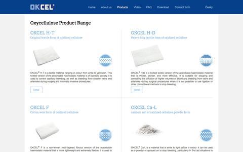 Screenshot of Products Page okcel.eu - Oxycellulose Product Range - OKCEL - captured Nov. 27, 2017