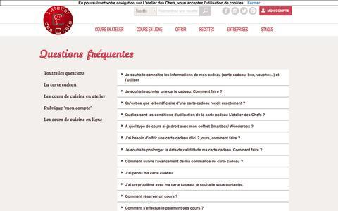 Screenshot of FAQ Page atelierdeschefs.fr - La foire aux questions de L'atelier des Chefs - captured Aug. 21, 2016