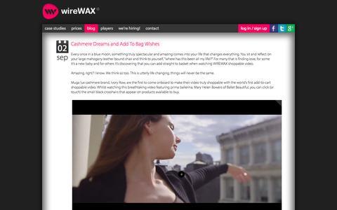 Screenshot of Blog wirewax.com - wireWAX - interactive video tool - captured Sept. 17, 2014