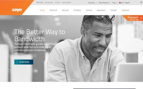 Screenshot of Home Page zayo.com - Zayo Group | Fiber, Bandwidth, Colocation & Cloud Services - captured Oct. 8, 2017
