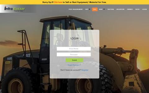 Screenshot of Login Page infrabazaar.com - Login - Buy, Sell, Rent, Auction, Finance & Valuate Heavy Equipment and Machinery Online | Infra Bazaar - captured Dec. 12, 2018
