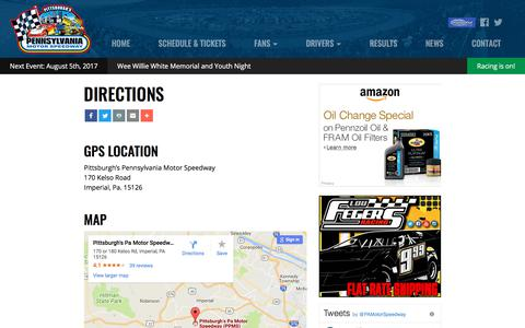Screenshot of Maps & Directions Page ppms.com - Directions | Pittsburgh's Pennsylvania Motor Speedway - captured Aug. 4, 2017