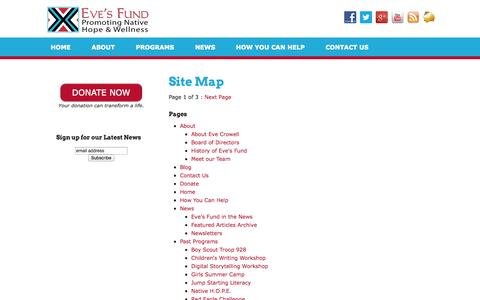 Screenshot of Site Map Page evecrowellsfund.org - Site Map - Eve's Fund for Native American Health Initiatives, Inc. - captured Oct. 2, 2014
