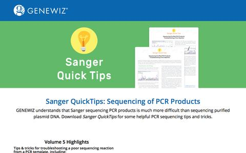 Screenshot of Landing Page genewiz.com - Sanger QuickTips - captured Feb. 15, 2017