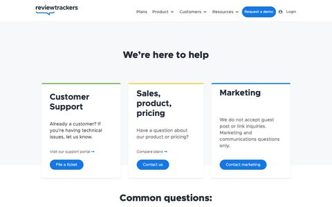 Screenshot of Contact Page reviewtrackers.com - Contact Us | ReviewTrackers Chicago - captured Sept. 22, 2019