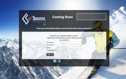 Screenshot of Home Page boomapparel.com captured Jan. 21, 2015