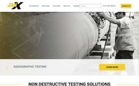 Screenshot of Home Page janxndt.com - Non Destructive Testing Solutions - Industrial NDT Inspection | JANX - captured Dec. 17, 2018