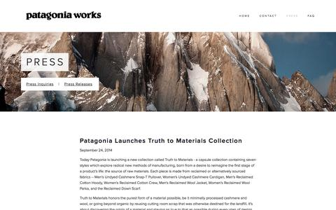 Screenshot of Press Page patagoniaworks.com - Press — Patagonia Works - captured Sept. 30, 2014