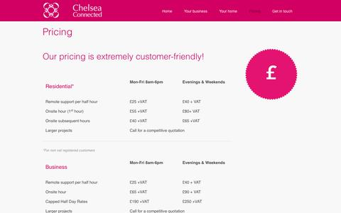 Screenshot of Pricing Page chelseaconnected.com - Pricing – Chelsea Connected - captured Sept. 29, 2014