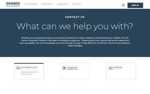 Screenshot of Contact Page drhorton.com - DRHorton - Contact Us | D.R. Horton - captured Feb. 11, 2019