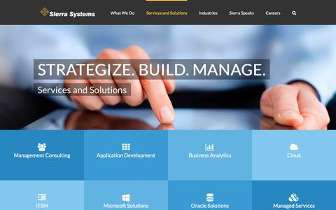 Screenshot of Services Page sierrasystems.com - Services and Solutions - Sierra Systems - captured Nov. 2, 2017