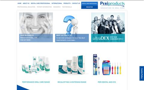 Screenshot of Home Page periproducts.co.uk - Peri Products - Innovation in oral care - captured Dec. 8, 2015
