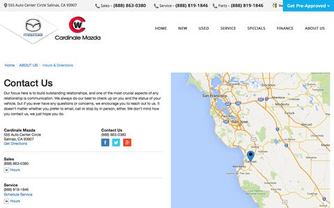 Screenshot of Contact Page Maps & Directions Page cardinalemazda.com - Contact Cardinale Mazda in Salinas California - captured May 1, 2016