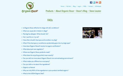 Screenshot of FAQ Page organicoscar.com - FAQs - captured Oct. 26, 2014
