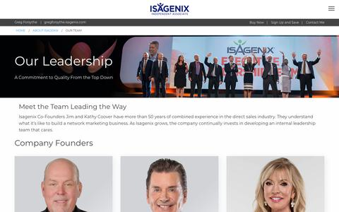 Screenshot of Team Page isagenix.com - Our Team: Isagenix Leadership - US - captured Nov. 11, 2018