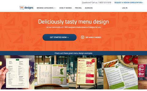 Screenshot of Menu Page 99designs.com - Menu Design | 100% Money Back Guarantee | 99designs - captured Feb. 13, 2016