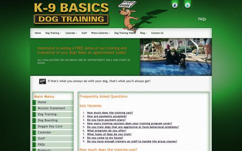 Screenshot of FAQ Page k9basics.com - Frequently Asked Questions about Dog Training | K9 Basics - captured Feb. 12, 2016