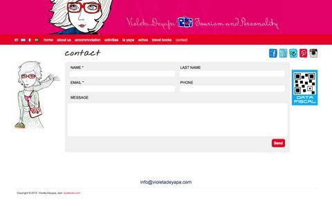 Screenshot of Contact Page violetadeyapa.com - Contact | Violeta Deyapa - captured Oct. 9, 2014