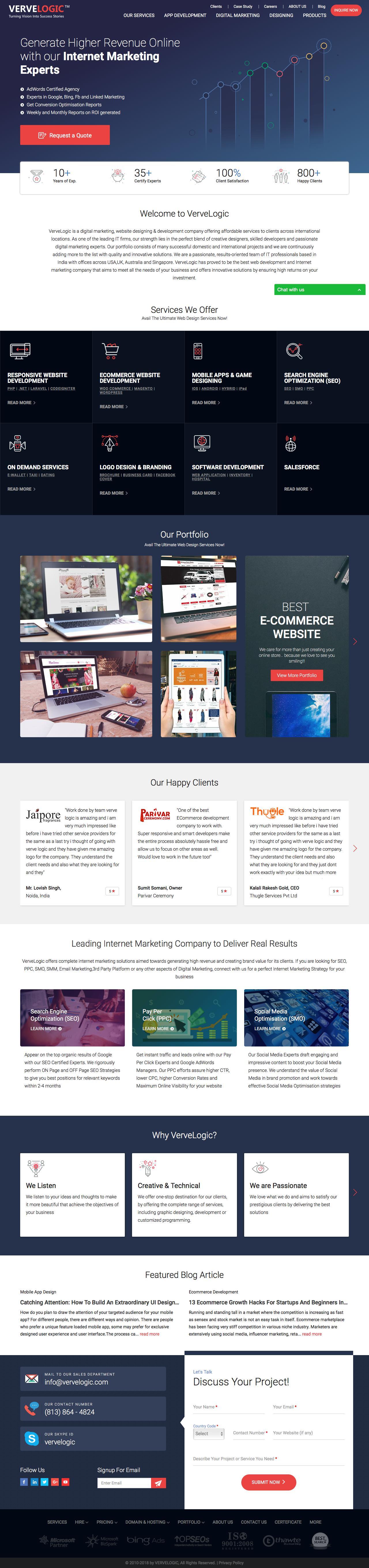 Screenshot of vervelogic.com - Web Design India and Internet marketing company India, jaipur - captured June 9, 2018