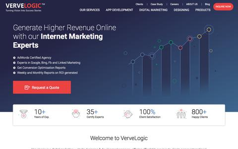 Screenshot of Home Page vervelogic.com - Web Design India and Internet marketing company India, jaipur - captured June 9, 2018