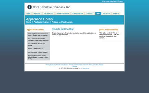 Screenshot of Testimonials Page cscscientific.com - Testimonials - captured Oct. 1, 2014