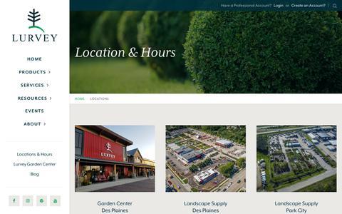 Screenshot of Locations Page lurveys.com - Locations & Hours | Lurvey Landscape Supply - captured Sept. 30, 2018