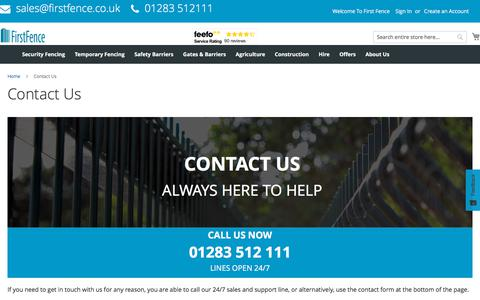 Screenshot of Contact Page firstfence.co.uk - Contact Us | First Fence Ltd | Permanent & Temporary Security Fencing - captured Aug. 13, 2018