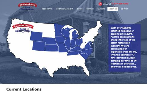 Screenshot of Locations Page americandreamhomeimprovement.com - Locations - American Dream Home Improvement - captured Nov. 17, 2018
