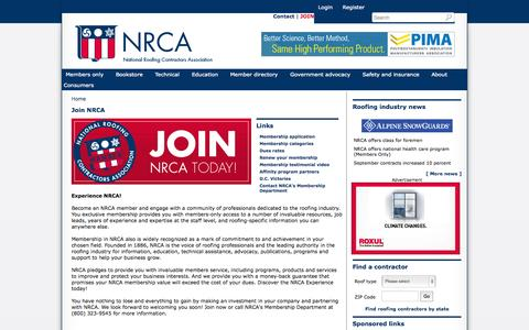Screenshot of Signup Page nrca.net - Join NRCA | NRCA, National Roofing Contractors Association - captured Oct. 27, 2014