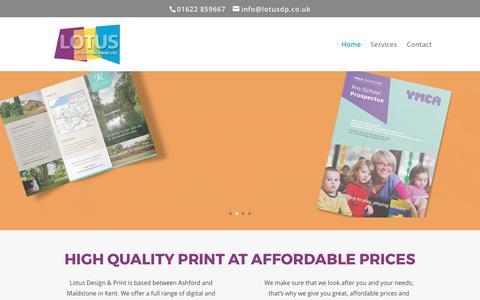 Screenshot of Home Page lotusdp.co.uk - Lotus Design & Print | Digital Printing Services - captured Sept. 9, 2017
