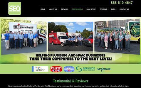 Screenshot of Testimonials Page plumberseo.net - Testimonials & Reviews - Plumbing & HVAC SEO - captured July 19, 2018