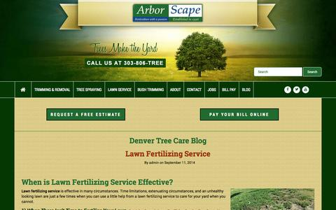 Screenshot of Blog arborscapeservices.com - Denver Tree & Lawncare Services Blog - captured Nov. 2, 2014