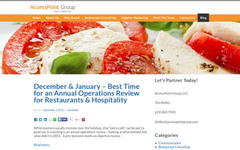 Screenshot of Blog accesspointgroup.com - Restaurant Operations Blog, Hospitality Marketing   AccessPoint Group, LLC - captured Dec. 23, 2015