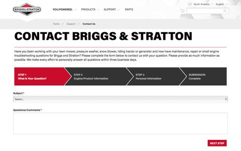 Screenshot of Contact Page briggsandstratton.com - Ask a Small Engine Troubleshooting or Repair Question | Briggs & Stratton - captured Oct. 11, 2017