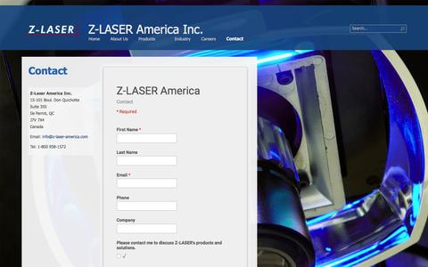 Screenshot of Contact Page z-laser-america.com - Contact Z-LASER America - captured Feb. 23, 2016