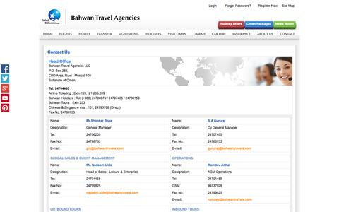 Screenshot of Contact Page bahwantravels.com - Contact Us | Bahwan Travel Agencies LLC, Sultanate of Oman - captured Oct. 5, 2014